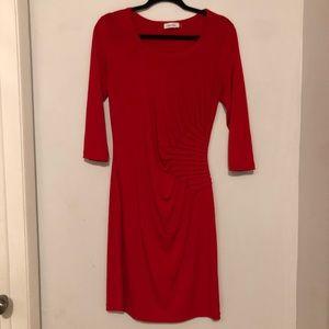 Calvin Klein Red Ruched Sheath Dress Size 10